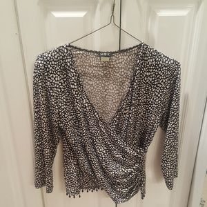 Tops - White & Black Sequin Wrap Shirt W. Bead Trim